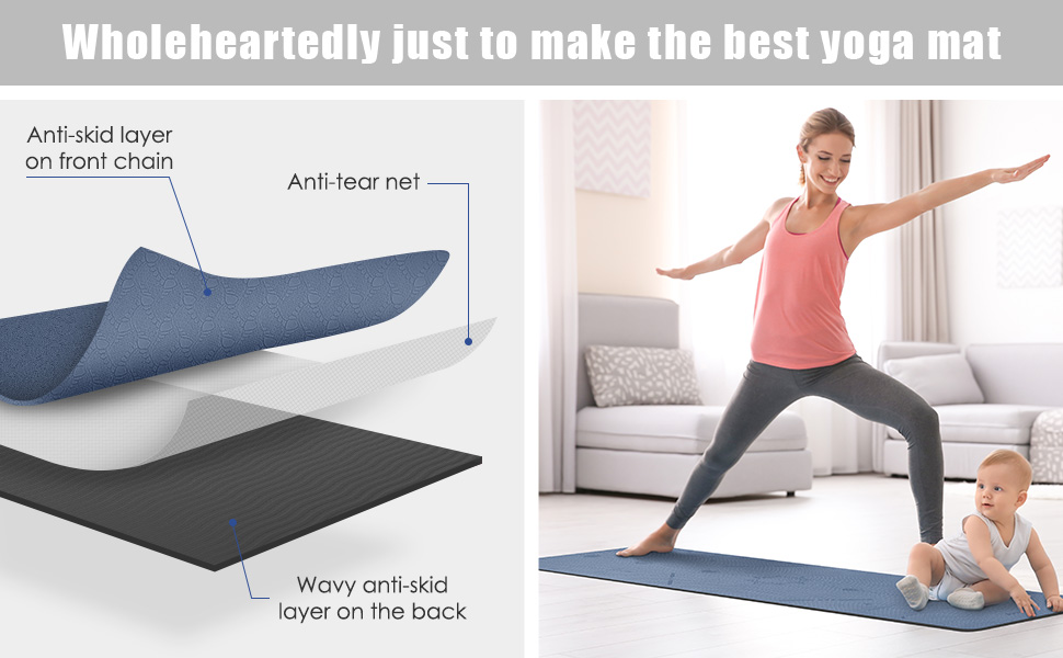 Exercise & Workout Mat with Carrying Strap- for Yoga, Pilates and Floor Exercises
