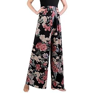 Libella Damen Weite Hose Palazzo-Hose Pumphose Haremshose Blumenmuster Lange Hose mit hohem Bund One Size