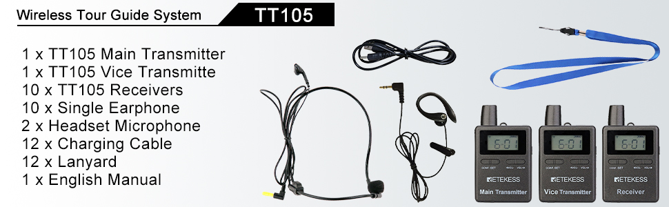 2 Interpreters and 5 Listeners Retekess TT105 Tour Guide System ...