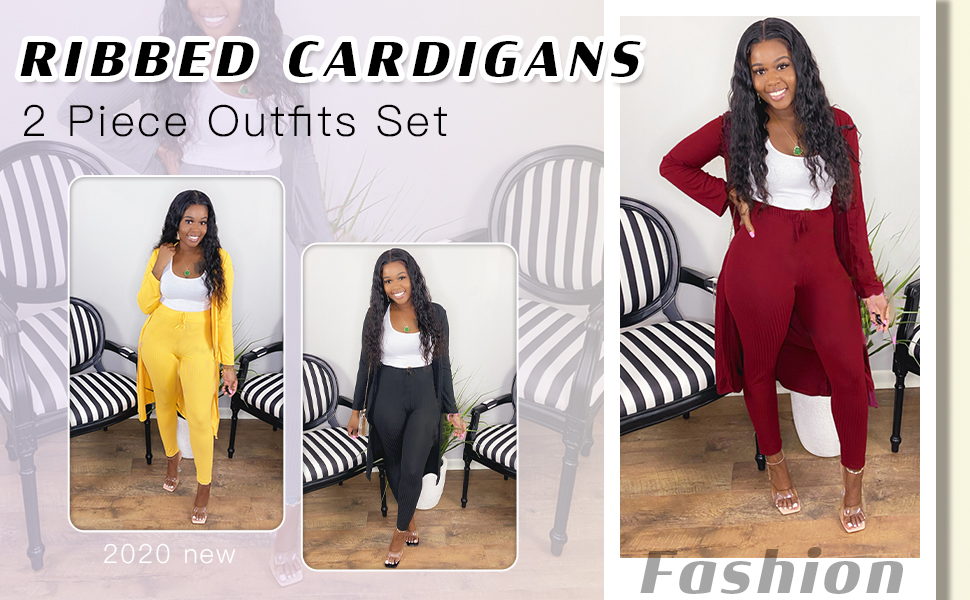 Ribbed Cardigans 2Piece Outfits Set