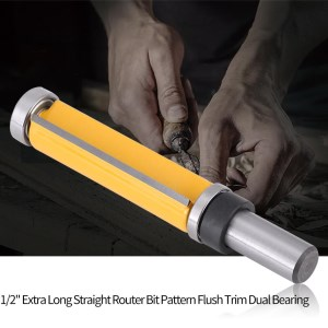 "1//2/"" Shank Extra Long Straight Router Bit Pattern Flush Trim Dual Bearing New"