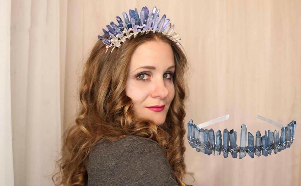 Details about  /Raw Crystal Quartz Headband Crown Hollow Out Metal Moon Tiara Wedding Hair Hoop