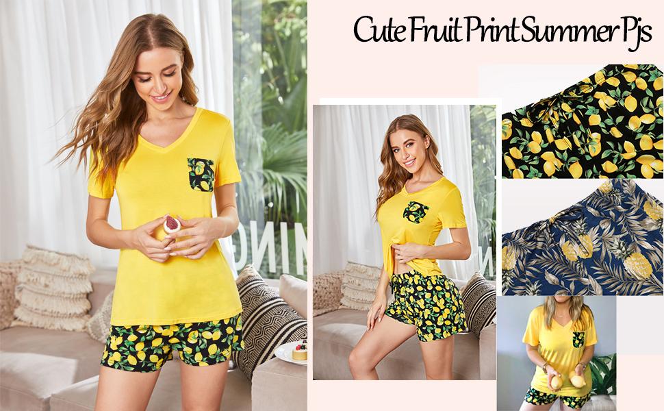 women Pajamas summer shorts Set short sleeve soft comfy sleepwear pj set cute fruit printed pjs