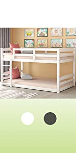 low twin over twin bunk bed for kids wood white bunk bed