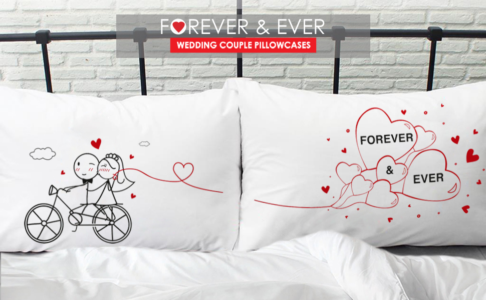 couples gifts couple pillowcases bride groom wedding bridal shower engagement newlywed just married