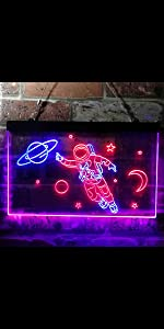 ADVPRO Dual Color LED Neon Sign Cosmos Space Astronaut Spaceman Shuttle Planets Explore