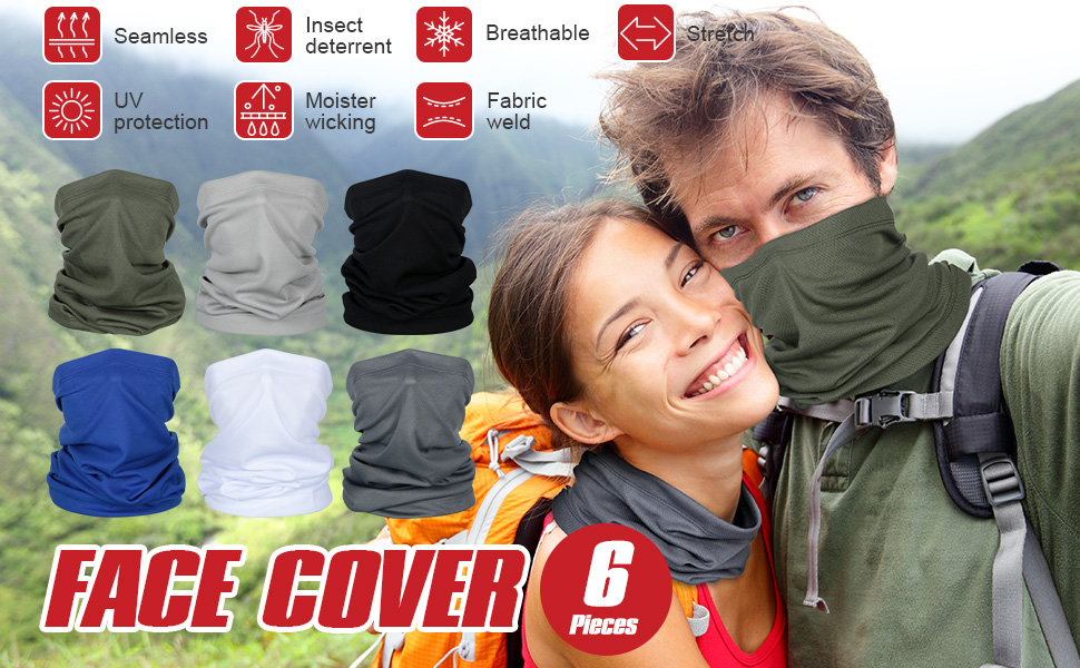 RONGROG Sun Protection Face Cover Print Scarf Balaclava Bandana Dustproof Neck Scarf for Women Outdoor Sports Hiking Cycling Running Black