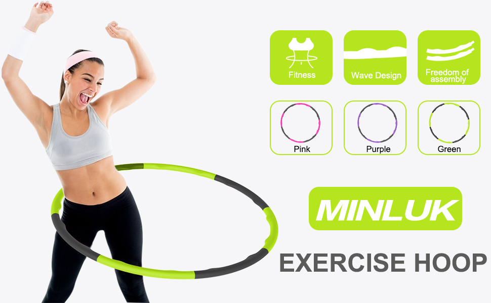 Weighted 2.2Lbs MINLUK Exercise Hoops Exercise Hoop For Adults Soft Foam Hoop With Jump Rope And Mini Measuring Tape 8 Section Detachable Adjustable Weight /& Size Plastic Hoop Weight Exercise Hoop