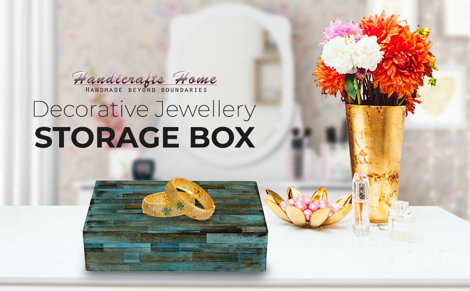 Verdigris Covered Keepsake Decorative Storage Box Bone Handmade Jewellery Boxes