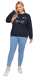 plus size cute cartoon print cat printed loose casual sweatshirt pullover blouse top shirts