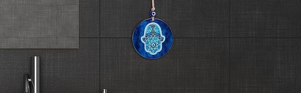 evil eye hamsa yoga prana hand blue decor home kitchen office bedroom house warming present