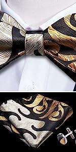 gold self tie bow tie