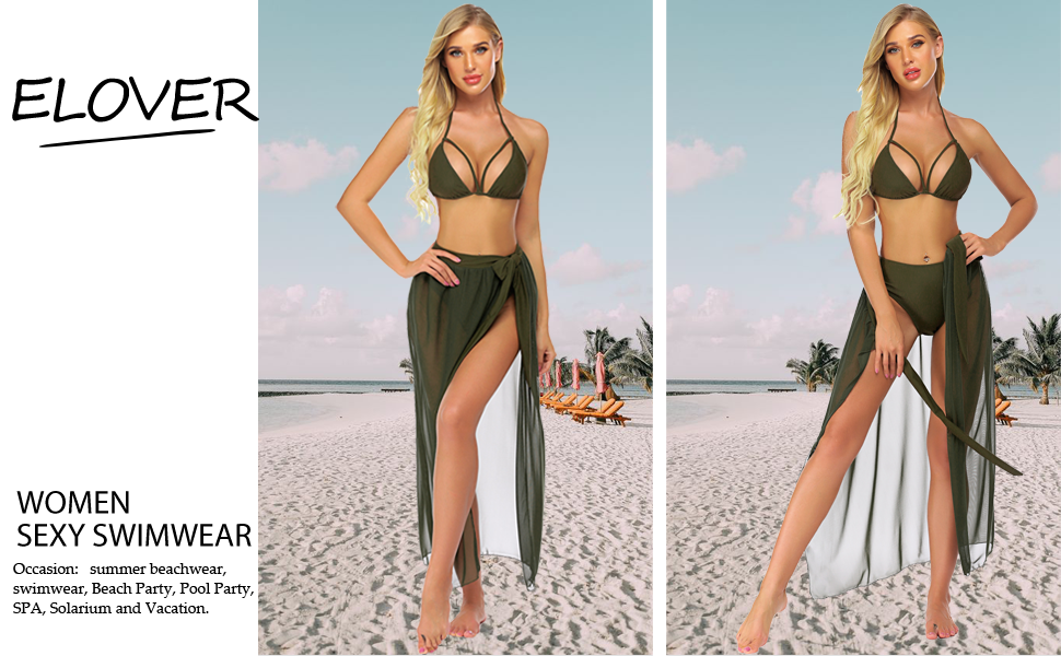 womens swimsuits coverups bikini set olive green high waist swimsuits for women 3 piece bathing suit
