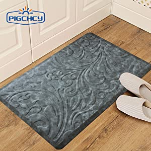 Amazon Com Pigchcy Luxurious Kitchen Rugs And Mats Anti Fatigue Comfort Floor Foam Mats Washable Non Slip Cushioned Standing Durable Desk Mats 20 W X 30 L Grey Kitchen Dining