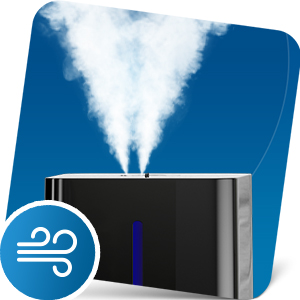Mist emitting from top of ultrasonic humidifier