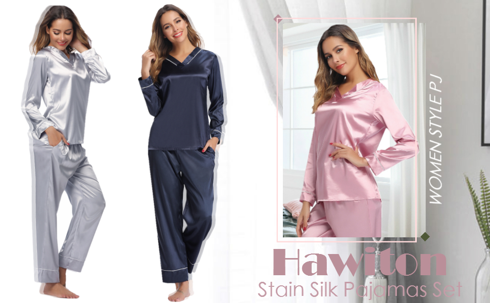 Warmth Without The Weight 404317AD Classic Long Sleeve Notch Collar PJ Set with Brushed Back Satin Heavenly Bodies Satin Pajamas