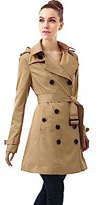 BGSD Women's Leah Waterproof Hooded Mid Length Trench Coat