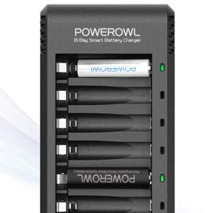 POWEROWL Pilas Recargables Cargador de AA y AAA con AA 2800mAh (4 Unidades) y AAA 1000mAh (4 Unidades) Ni-MH Pilas Recargables(sin adaptador)