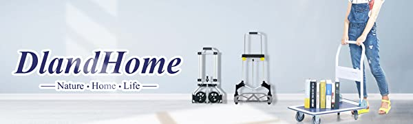 80kg DlandHome Carretillas de Mano Multiusos Carrito plegable Ajustable y ligero con mango telesc/ópico de aluminio Carga m/áx