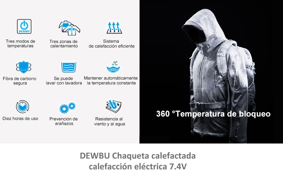 DEWBU Chaqueta Calefactable con 7.4v Batería Softsell Impermeable Invierno para Actividades al Aire Libre