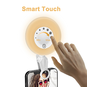 The selfie light can touch to change the brightness.