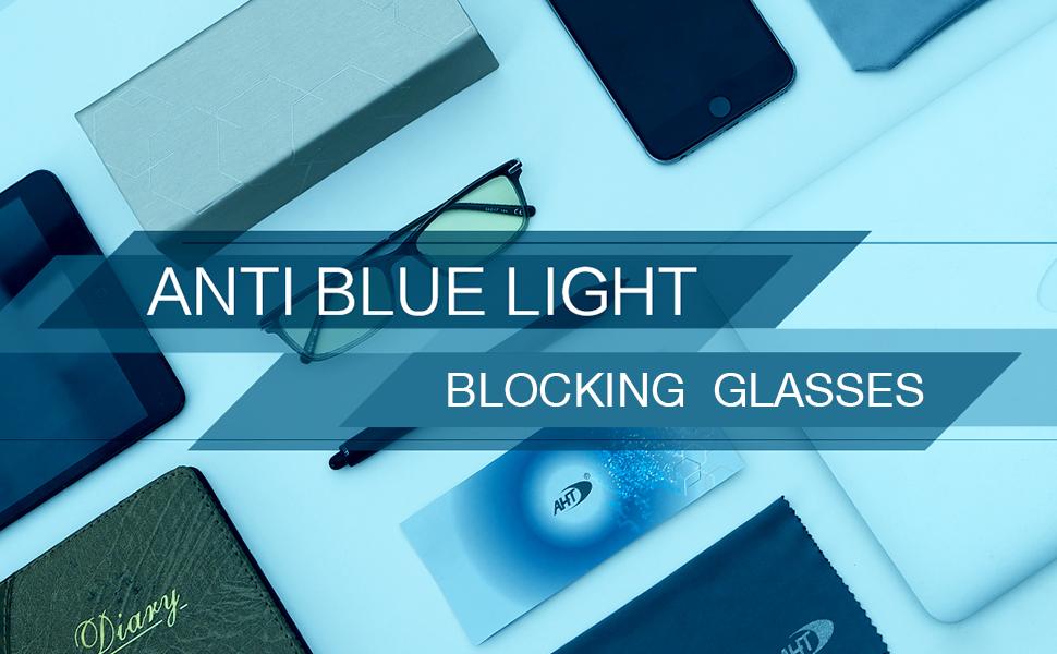 AHT Blue Light Blocking Glasses Women Men Anti Eye Strain Computer Glasses Classic Square Metal