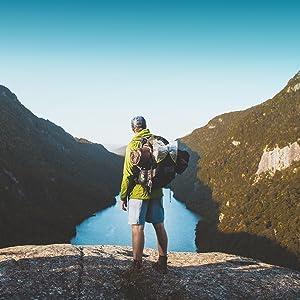 adventure hiking lake backpacking man hiker backpacker nature outdoors outside
