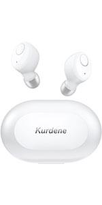 white wireless earbuds