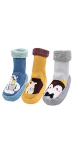 3 Pairs Baby Thicken Floor Socks Toddler Boys Anti-Slip Cartoon Animal Slipper Socks