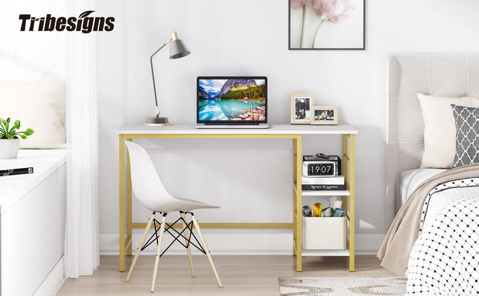 Computer Black Desk 120 cm Office Desk for Home Working Black Desk Workstation Sturdy Writing Desk