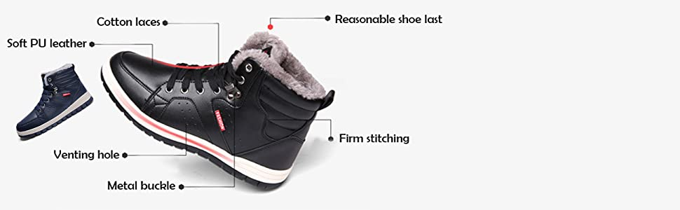 Lauwodun Men/'s Winter Fully Fur Lining Warm Ankle Boots Lace Up Leather Sport Snow Sneakers Shoes for Outdoor Casual Fashion Sports