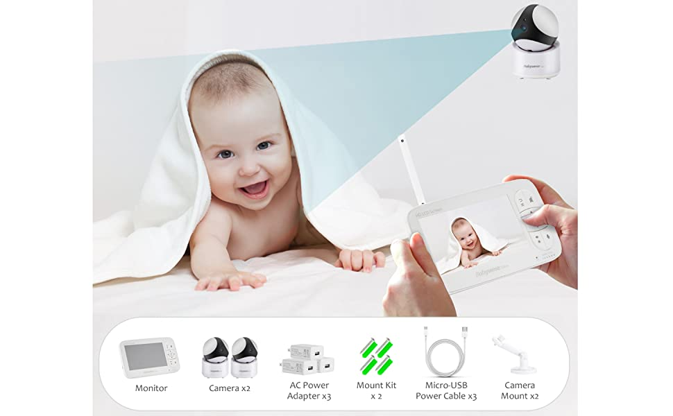 Babysense video Baby Monitor V65 HD 720P with two cameras - Whats inside the box