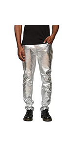 COOFANDY Mens Metallic Shiny Jeans