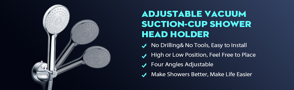 PureHome Shower Head Holder Adjustable Vacuum Suction Cup Shower Head Wall Mount