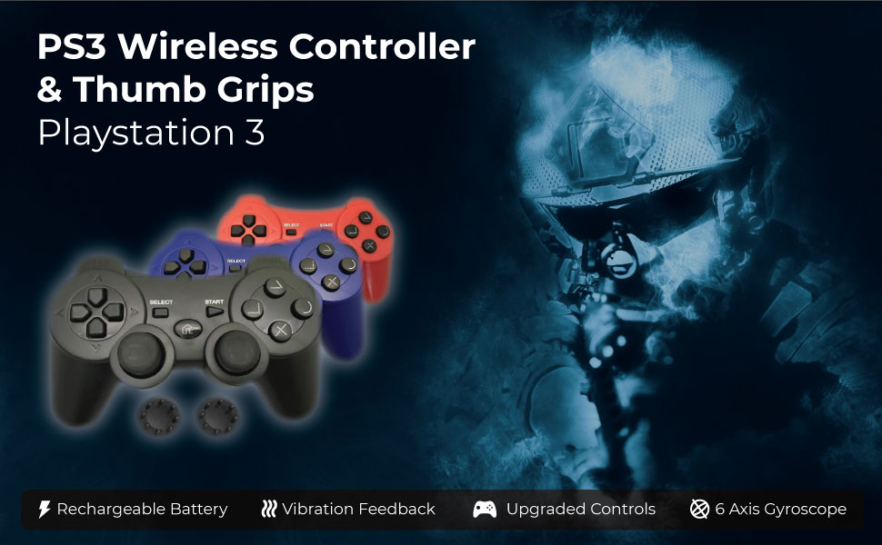 PS3 Controller Wireless Bek Joystick Thumb Grips Remote Double Shock Gamepad Sony Playstation 3