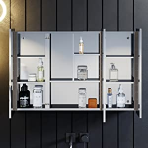 Led Illuminated Bathroom Mirror Cabinet Stainless Steel Wall Mounted with Shaver Socket