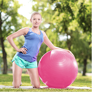 Exercise Ball for Yoga Balance Fitness Stability Workout Guide, Professional Grade Extra Thick Yoga