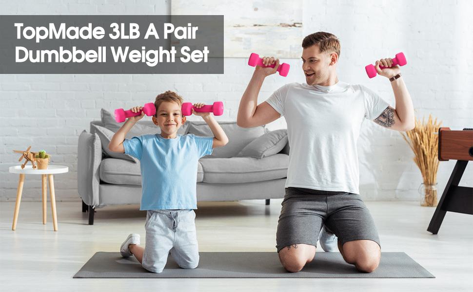 A Pair 3lb Hexagonal Women's Neoprene Coated Matte Fitness Dumbbells for Home Gym Non-Slip dumb bel