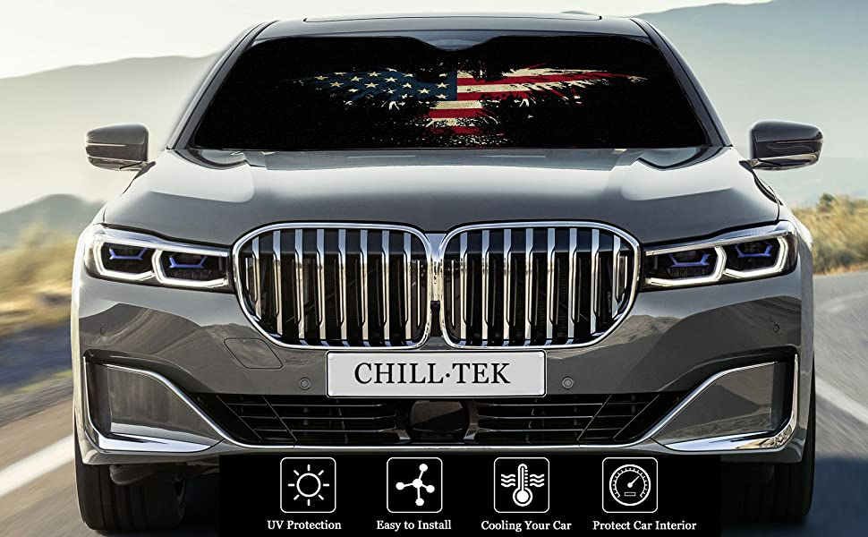 CHILL TEK American Flag Eagle Universal Car Windshield Sun Shade with Aluminum Foil and Double Layer Foam Interior Fodable Interior Protector Block Sun Heat Size 51.2x27.6//55.1x29.9 in