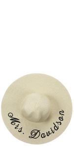 personalized floppy hat, honeymoon hat, bride hat