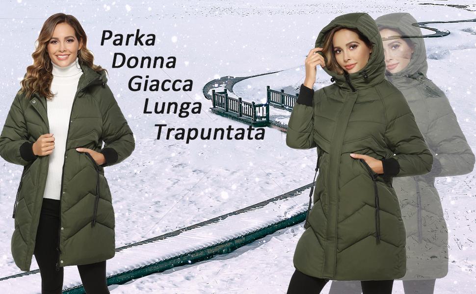 Akalnny Parka Donna Giacca Lunga Trapuntata con Cappuccio per Invernale