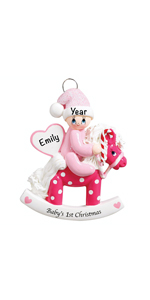Pink baby girl shower newborn registry personalized gifts keepsake first christmas ornament