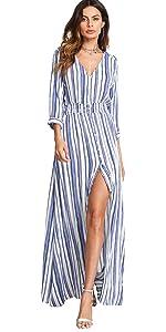 Striped Maxi Dress Split Dresses
