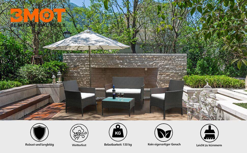 Gartenlounge Set, Balkonmöbel Set für 4 Personen, Schwarz, 7 TLG, mit Tisch, Sitzkissen