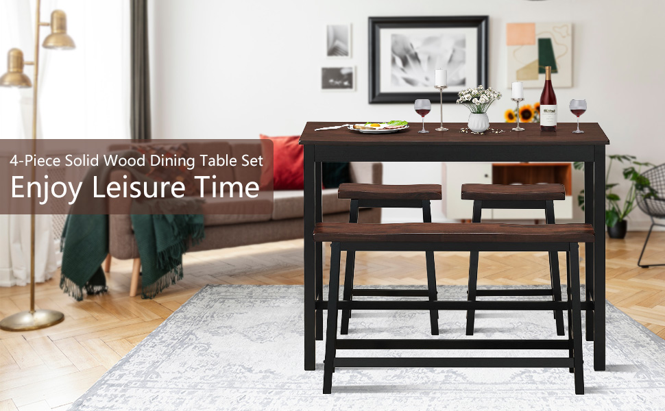 4-Piece Solid Wood Dining Table Set