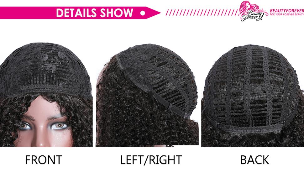 Half Wig Human Hair Kinky Curly, Afro Kinky Curly Half Wigs for Black Women Human Hair With Combs,