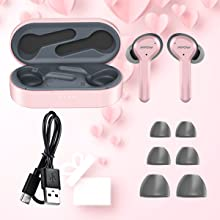 wireless earbuds inear women girl mini pink in-ear phone noise cancelling touch workout microphone