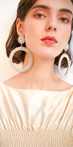 Hot Luxury Colorful Crystal Round Drop Earrings for Women Geometric Circle Dangle Earrings