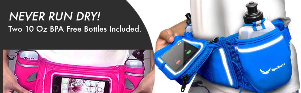 10 oz water bottle dual pack hydration running belt pink blue lime green