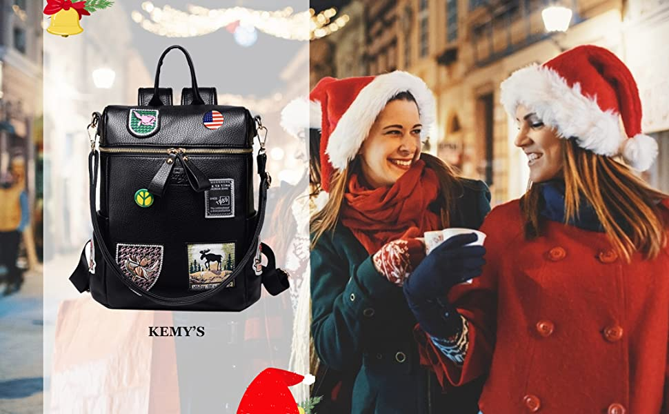 Kemy/'s Women Backpack Purse Faux Leather Rucksack Bag for Ladies Small Bag Black